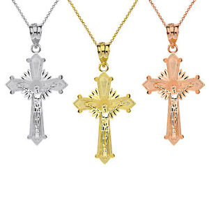 Solid 10k Rose Gold Passion Cross Charm Pendant