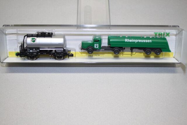 Minitrix 15171 Kesselwagen Rheinpreussen mit Tanklastzug Spur N OVP