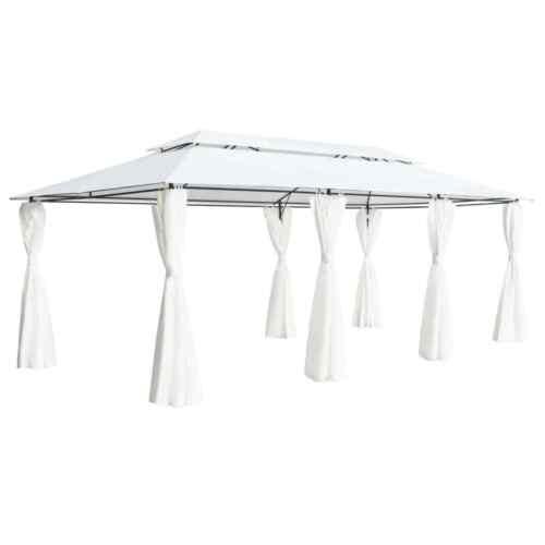 vidaXL Pavillon mit Vorhängen 600x298x270cm Weiß Gartenpavillon Gartenzelt