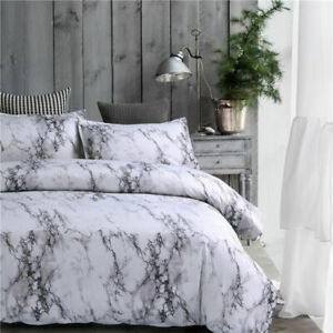Gray-Simple-Marble-Bedding-Duvet-Cover-Set-Quilt-Cover-Twin-Queen-King-Size