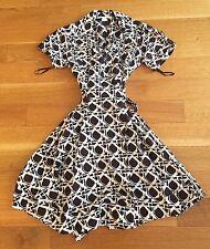 Diane von Furstenberg Kaley Caning Mocha wrap dress cotton brown white Sz 6