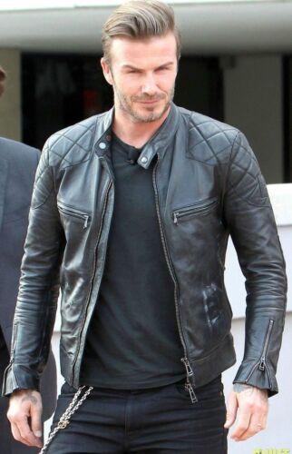 Beckham Men/'s Black Motorcycle Faux Leather Jacket BNWT