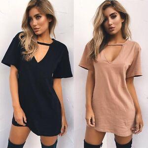 Women-Choker-V-Neck-Long-Top-T-shirt-Ladies-Casual-Party-Mini-Dress-Blouses