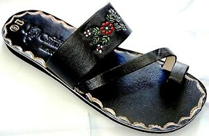 2d6dc387fb3f7 Image is loading Black-Leather-Sandal-Huaraches-Mexico-strap-slip-on-