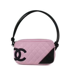70502fe617653f Image is loading Chanel-pink-black-cambon-ligne-quilted-pochette-leather-