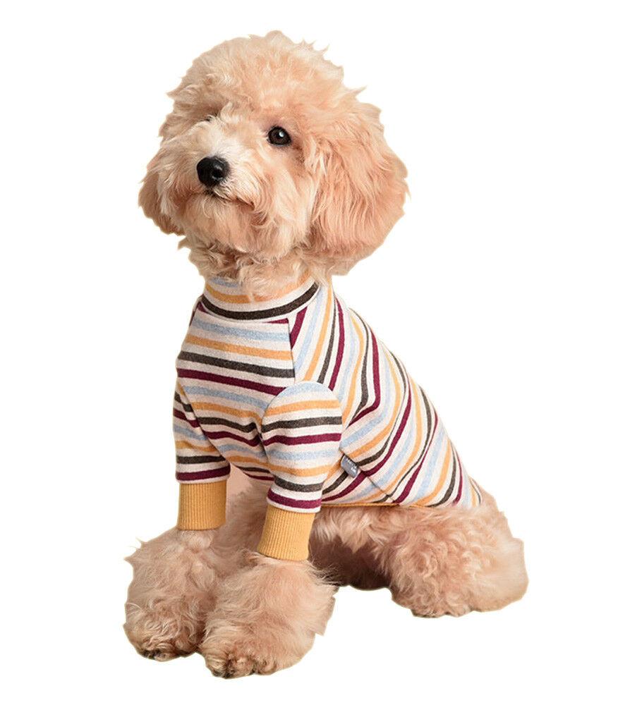 Premium Pet Multi Stripe T-Shirt Dog Cat Cotton Spandex Elastic T-Shirt (Long)