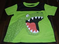Boys 3t Green T-shirt Textured Dinosaur Dragon Monster Lizard Short Sleeve