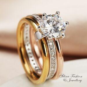 18K-White-Yellow-amp-Rose-Gold-Filled-1-50-Ct-Diamond-Engagement-Triple-Ring-Set