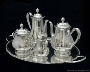 ANTIQUE-RAVINET-D-039-ENFER-NAPOLEON-III-STERLING-SILVER-TEA-COFFEE-SET-1850-1899