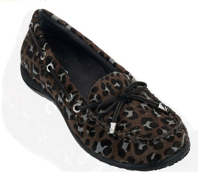 437056801d1f Vionic Orthaheel CHARM KENDALL Leather Loafers Shoes GREY LEOPARD 6.5 M NIB