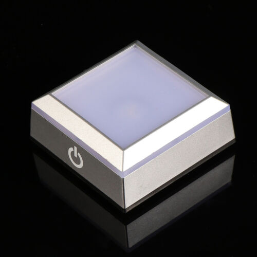 3D Crystal Glass Trophy Laser LED Light Base Square Display Stand Touch Switch