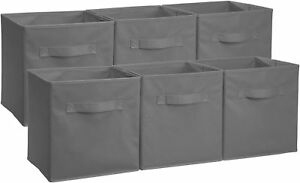 AmazonBasics-Foldable-Storage-Cubes-6-Pack-Grey