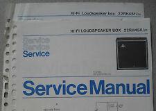 Philips 22 RH450 RH451 Lautsprecher Box Service Blatt