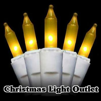 100 Mini Gold/Yellow Christmas String Incandescent Light Set 27ft White Wire