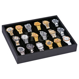 Wooden-Frame-18-Watch-Display-Storage-Tray-Box-Case-Bangle-Bracelet-Jewellery-F