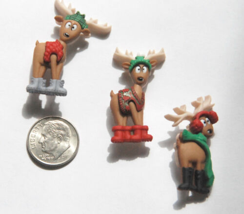 Dress It Up by Jesse James 3 Comical Holiday Deer Where/'s the Sleigh Buttons