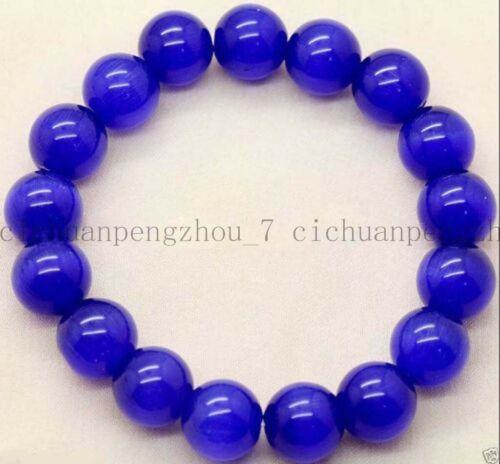 """Lovely 10 mm Bleu Foncé Saphir Ronde Pierres Précieuses Perles Élastique Bracelet Bangle 7.5/"""""""