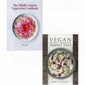 Vegan-Recipes-and-Middle-Eastern-Vegetarian-Cookbook-2-Books-Collection-Set-NEW