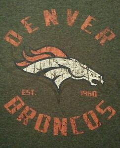 Denver-Broncos-Mens-S-Shirt-Long-Sleeve-NFL-Team-Apparel-Gray-Distressed-Look