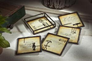 Clear-Glass-amp-Metal-WINE-CORKSCREWS-Coasters-Set-4-w-Holder-J-Devlin-Glass-Art