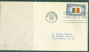 US-FDC-914 OVER RUN COUNTRIES BELGIUM cancel.WASHINGTON DC.SEPT.14-1943 ADDR
