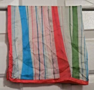 TERRIART-Pink-Green-Blue-Stripes-Pink-Border-SILK-20-034-Sq-Scarf-Vintage-KLEIN