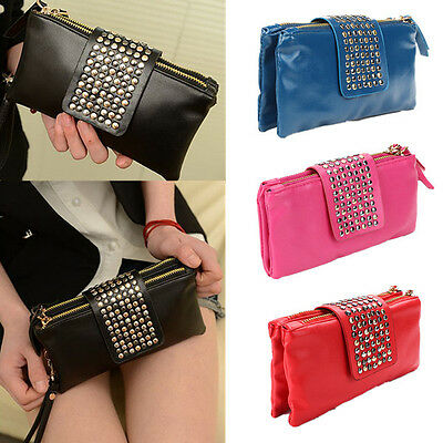Women Rivet Card Coin Holder Wallet Ladies Leather Soft Clutch Purse Handbag Bag