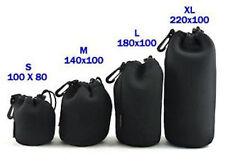 1X XL Schwarz Neopren Weich universell Objektiv-tasche+gürtelclip 10cmx22cm