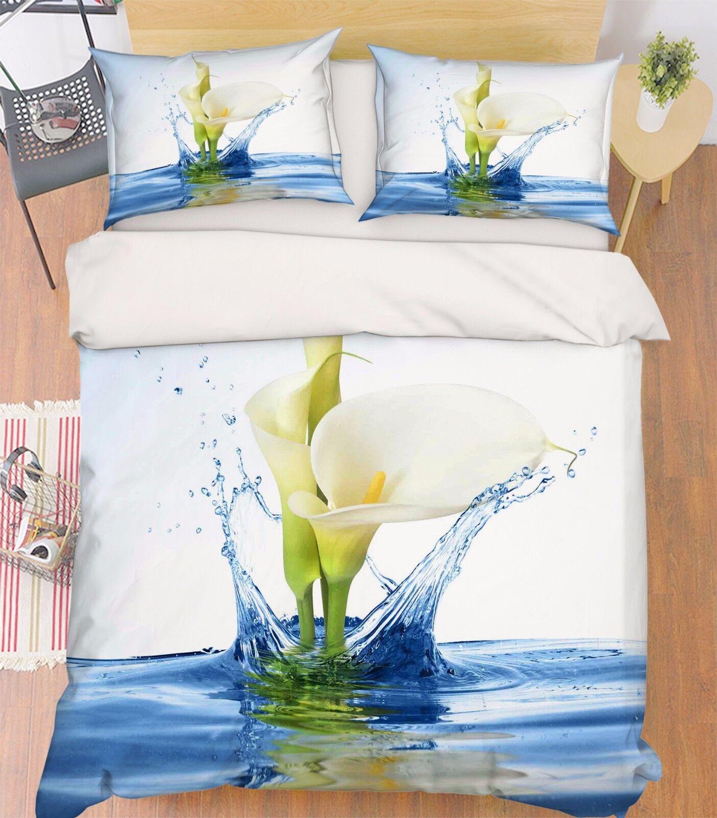 3D Pure Flowers Bed Pillowcases Quilt Duvet Cover Set Single Queen King Size AU