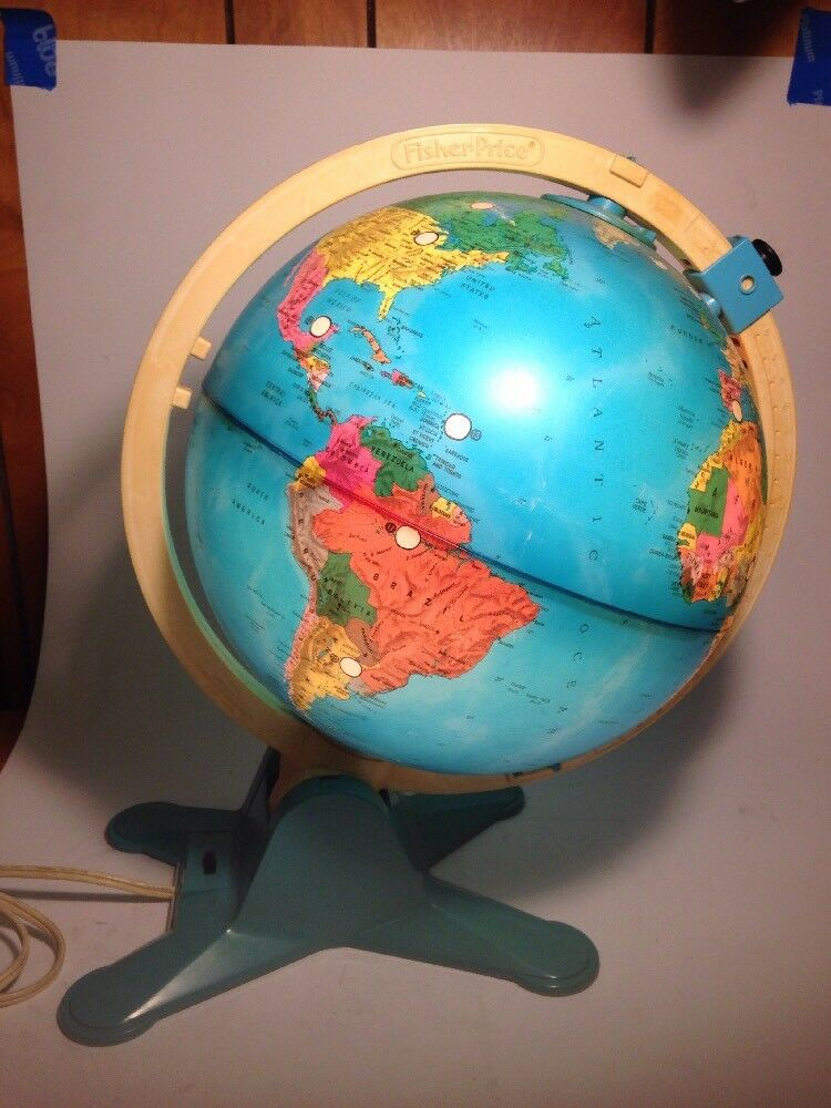 Vintage Fisher Price Discovery Light Up Globe Globe Globe Viewfinder Educational Home School 28401b