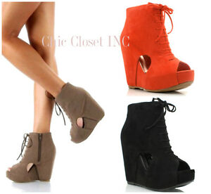 NEW Women Peep Toe WEDGES Booties Platform High Heel Ankle Lace Up ...