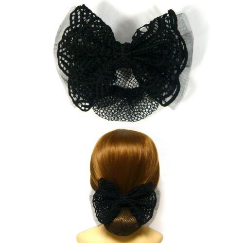 Chic Large Black Lace Ribbon Bow Knot Bun Cover Net Snood Barrette Hair Clip Pin