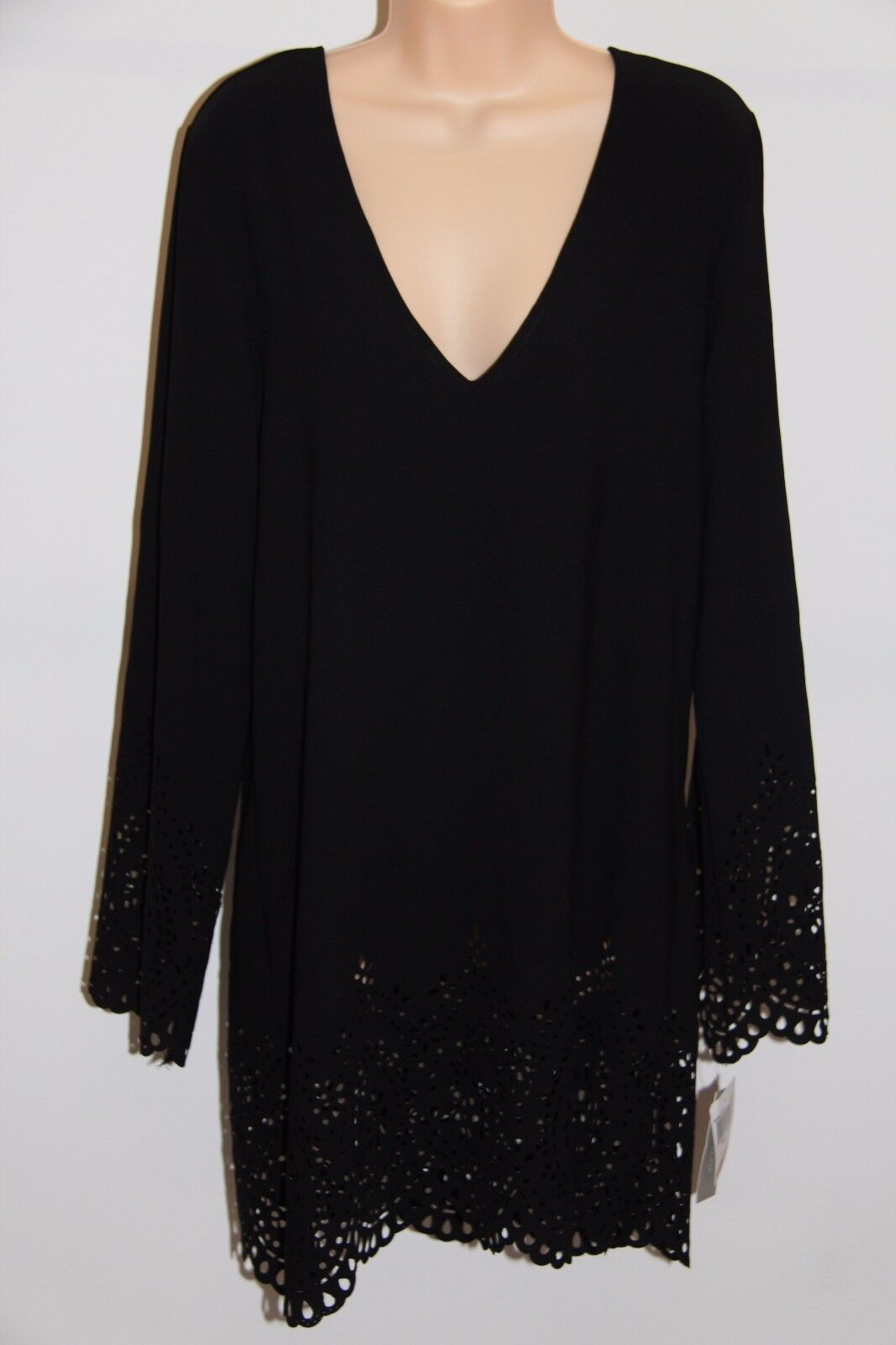 NWT Kenneth Cole Swimsuit Cover Up Dress Sz M BLK  Long sleeve