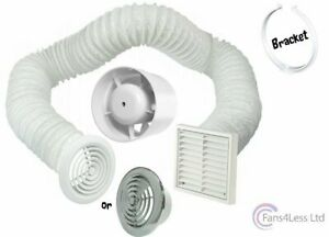 "4/"" 5/"" 6/"" Inline Extractor Fan Timer Std Full Kit Ventilation Bathroom Shower"