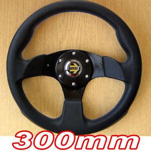 Sports-Steering-Wheel-300mm-Black-3-Spoke-30cm-Racing-Track-Go-Cart-Kart