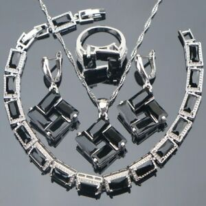 Noir-Cristaux-de-Cz-Set-Collier-Bracelet-Boucles-Bague-925-Argent-Noel-Gifts-Her