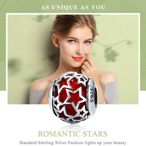 BAMOER S925 Sterling Silber Charm Romantischer Stern RedFor Armband Schmuck