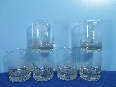 Morton Salt Girl Cocktail Glasses Drinking Set of 6 Etched Logo Advertising