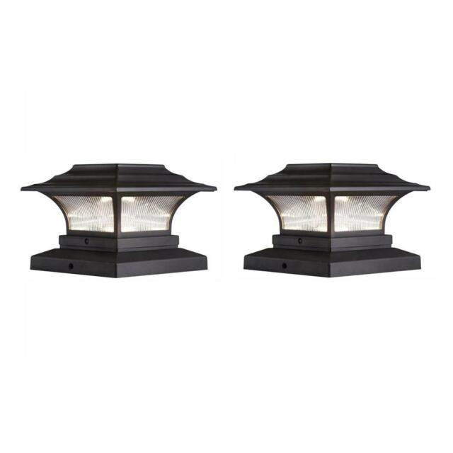 Hampton Bay Deck Post Light Solar Bronze Outdoor Led 4 X 4 2 Pack 1002627497 For Sale Online Ebay