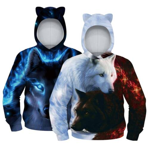 Kids Boy Girl 3D Print Hoodie Sweatshirt Pullover Long Sleeve Jacket Coat Jumper