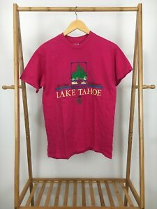 VTG-90s-Hanes-Lake-Tahoe-Mountain-Souvenir-Short-Sleeve-Hot-Pink-T-Shirt-M-USA