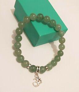 Ohm Aum Green Aventurine Crystal Gemstone Bead Bracelet. Reiki Chakra U.K Seller