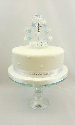 1st Prima Comunione Ragazzo Ragazza Cuore O Stella Burst Diamante Croce Cake Topper-