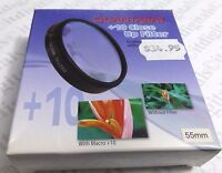 55mm Macro +10 Close-up Lens Filter No.10 For Dslr Slr Film Digital Camera 55 Mm