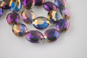 Bulk-10pcs-Faceted-Glass-Crystal-Oval-Charms-Loose-Spacer-Beads-Purple-Colorized