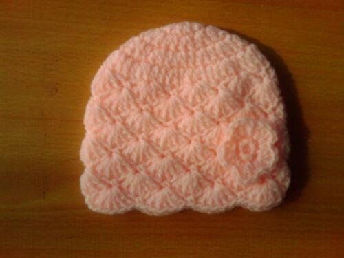 Unisex Beanie Hat 100/% Acrylic var cols Handmade Hand Crocheted Baby Flower