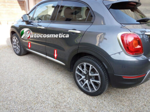 Fiat 500X Side Door Outer Trims New Protectors Steel Set  Brushed Made in Italy