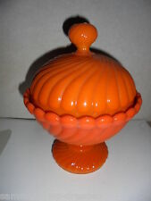 27000 Deckel Dose gepresst Preßglas orange Koralle coral opalin glass pressed