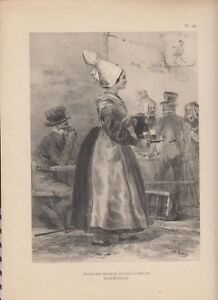 Détails sur Phototypie LALAISSE costumes bretons pl92 FEMME DES ENVIRONS DE  CHATEAUBRIANT
