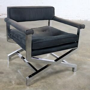 Obliging Chrome X Base Director Style Lounge Chair Attributed To Milo Baughman Chairs